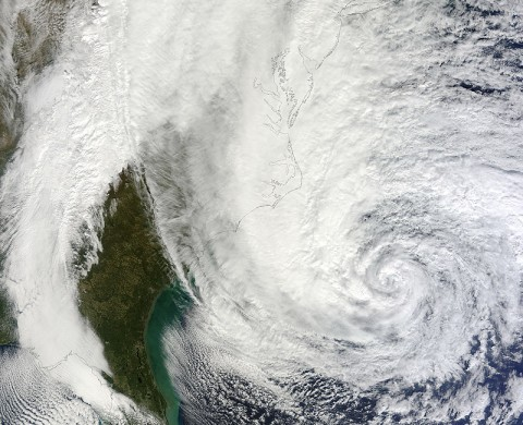 Hurricane Sandy as seen by the Moderate Resolution Imaging Spectroradiometer (MODIS) instrument on NASA's Terra spacecraft on Oct. 28th, 2012, when the Category 1 storm was centered off the southeastern U.S. coast. A new NASA-led study finds that analysis of relative humidity levels in the large-scale environment of tropical cyclones may be useful in improving forecasts of their intensity. (Image credit: NASA GSFC/LANCE MODIS Rapid Response Team)