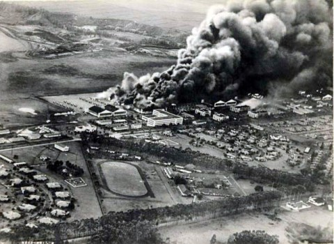 Japanese attack December 7th, 1941 - Though most of the damage occurred at Pearl Harbor, Wheeler Army Airfield didn't slip by unscathed during the Japanese attack on Oahu, December 7th, 1941.