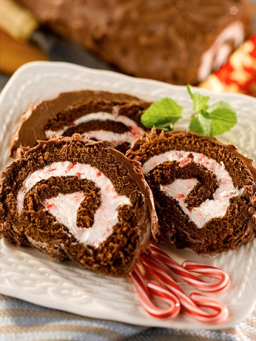 Peppermint and Chocolate Cake Roll