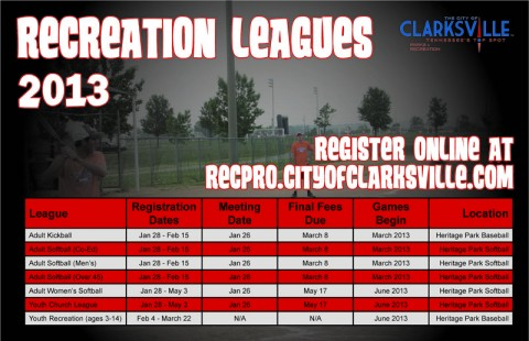 2013 Clarksville Parks and Recreation Leagues