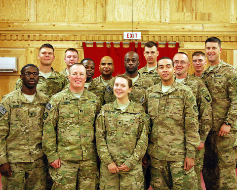 """Members of religious support teams from the 3rd Brigade Combat Team """"Rakkasans,"""" 101st Airborne Division (Air Assault), pose for a photo after a two-day resiliency course at Forward Operating Base Salerno, Afghanistan, Dec. 7, 2012. Seven religious support teams, made up of chaplains and their assistants from across Paktya and Khowst provinces came together for the training, which was aimed at increasing individual resiliency. (U.S. Army courtesy photo)"""