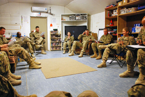 "A group comprised of chaplains, chaplain's assistants, a brigade psychologist and a master resiliency trainer, all from the 3rd Brigade Combat Team ""Rakkasans,"" 101st Airborne Division (Air Assault), partake in a refresher course on ways to cope with stress while deployed during a two-day resiliency course at Forward Operating Base Salerno, Afghanistan, Dec. 5, 2012. Seven religious support teams, made up of chaplains and their assistants from across Paktya and Khowst provinces came together for the course. (U.S. Army courtesy photo)"