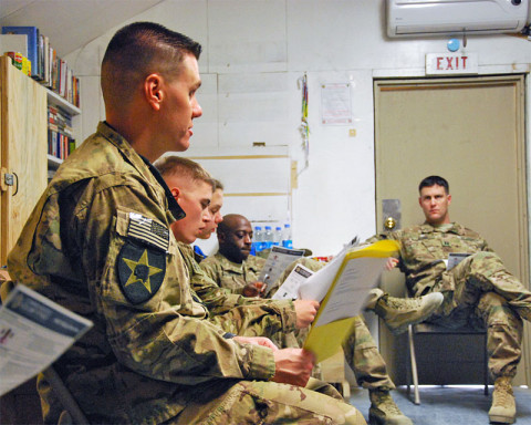 "Chief Warrant Officer 2 Brian Boase, the brigade master resiliency trainer for 3rd Brigade Combat Team ""Rakkasans,"" 101st Airborne Division (Air Assault), leads a refresher course on ways to cope with stress while deployed during a two-day resiliency course at Forward Operating Base Salerno, Afghanistan, Dec. 5, 2012. Seven religious support teams, made up of chaplains and their assistants from across Paktya and Khowst provinces came together for the course. (U.S. Army courtesy photo)"