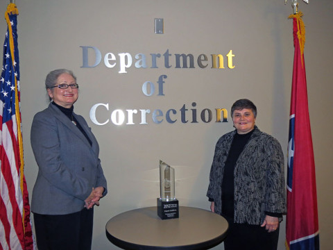 Kirk Smith-TDOC Asst. Director Field Services and Susan Shettlesworth-TDOC Correctional Program Director with the 2012 Program of Excellence Award.