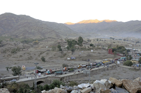 Civilian and commercial traffic moves slowly through Torkham Gate, which lies on the border between Afghanistan and Pakistan. (U.S. Army photo by Sgt. Jon Heinrich, Task Force 1-101 PAO)