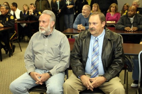 Retiring Clarksville Police Officer Danny Greene (left) and Clarksville Police Detective Larry Boren (right). (Photo by CPD-Jim Knoll)