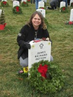 "Sheila Patton, mother of Army Staff Sgt. James R. Patton, who was killed in Iraq in 2010, traveled with her daughter from Fort Campbell, Ky., to Arlington National Cemetery in Virginia to participate in the ""Wreaths Across America"" tribute to fallen U.S. service members, Dec. 15, 2012. (William Miles/DOD)"