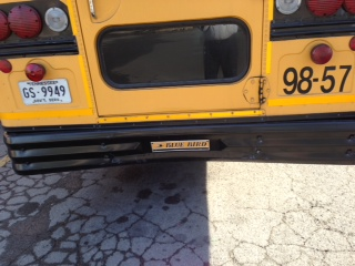 The rear-end of the Bus that the Mercury Mountaineer crashed into.