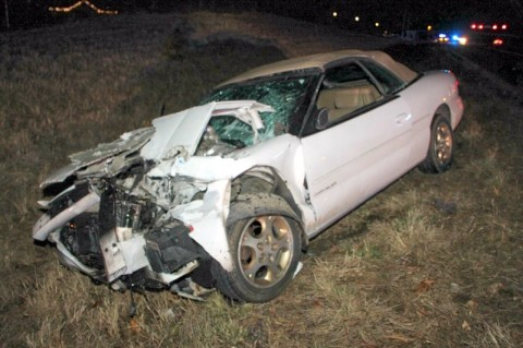 A Chrysler Sebring rear ended a 2007 Chevy Silverado on 101st Airbonre Parkway early Monday morning. (Photo by CPD-Jim Knoll)