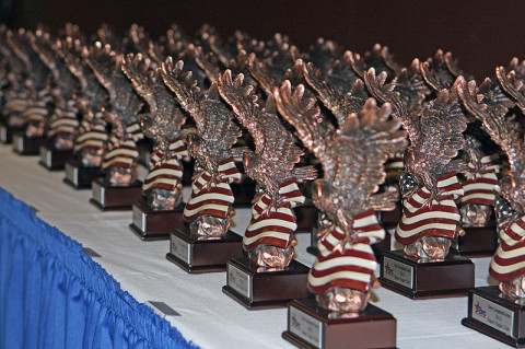 Combined Federal Campaign trophies that were given to awardees at a ceremony held Jan 22 in recognition of the campaigns annual successes. (U.S. Army photo by: Sgt. 1st Class Mary Rose Mittlesteadt, 101st Sustainment Brigade.)