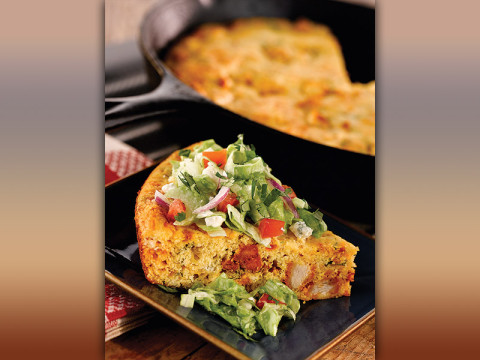 Buffalo Chicken Cornbread with Blue Cheese Salad