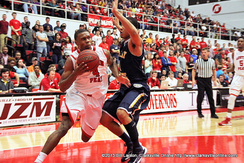 APSU's Travis Betran had 27 points in a losing effort against Murray State in their meeting Saturday, January 12th. Austin Peay men's Basketball.