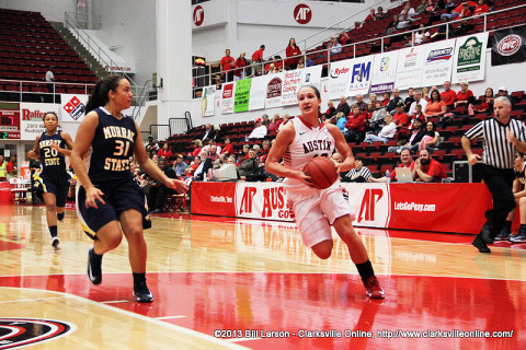 APSU's Meghan Bussabarger goes up for a layup against Murray State in their last meeting. Austin Peay Women's Basketball.