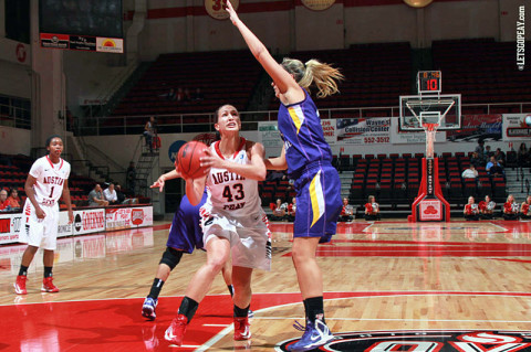 Senior Meghan Bussabarger recorded her season's second double-double in the Lady Govs loss at Tennessee Tech, Saturday. (Courtesy: Brittney Sparn/APSU Sports Information)