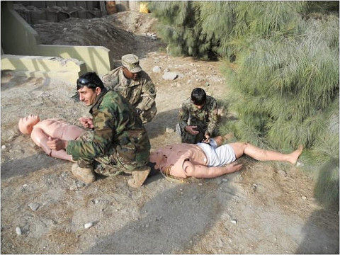 Soldiers from the Afghan Air Force practiced combat lifesaver skills on medical dummies Jan. 8th, 2013, at Jalalabad Airfield, Afghanistan. The AAF personnel were trained in CLS by medics from Company C, 426th Brigade Support Battalion, 1st Brigade Combat Team, 101st Airborne Division. (Courtesy photo by U.S. Army 1st Lt. Lisa Maginot)