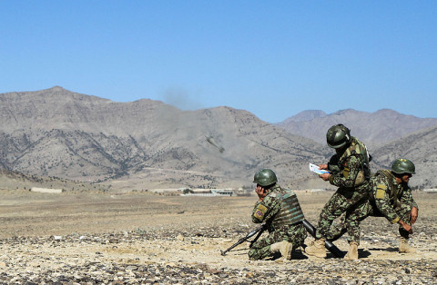 Soldiers from the Afghan National Army, 1st Brigade, 203rd Corps, effectively fire their 82mm mortar system during a live-fire exercise that marked the conclusion of a two-week mortarmen course at the Fires Center of Excellence, Camp Parsa, Afghanistan, Jan. 3, 2013. Once they have completed the required training, the trainees must exhibit their abilities to successfully employ and utilize their weapon system. (U.S. Army photo by Sgt. 1st Class Abram Pinnington, TF 3/101 Public Affairs)