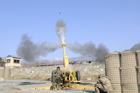 Afghan National Army soldiers from 2nd Brigade, 201st Corps, fire their D-30 Howitzer Jan. 18th, 2013, at Combat Outpost Monti, Afghanistan, as U.S. Army advisors from Security Force Advisory and Assistance Team-5, 1st Brigade Combat, 101st Airborne Division, observed and evaluated the training. (U.S. Army photo by Sgt. Jon Heinrich, Task Force 1-101 PAO)