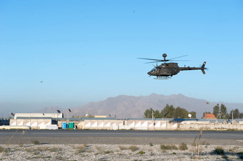 An OH-58D Kiowa Warrior helicopter with 2nd Squadron 17th Cavalry Regiment, 101st Combat Aviation Brigade, takes off for a patrol mission at Forward Operating Base Fenty, Afghanistan, Dec. 19th, 2012. (U.S. Army photo by Sgt. Duncan Brennan, 101st CAB public affairs)