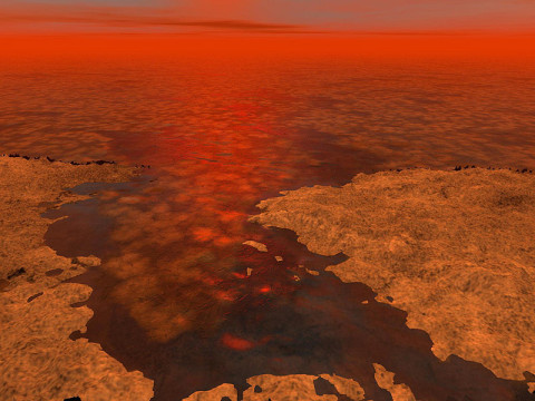 This artist's concept envisions what hydrocarbon ice forming on a liquid hydrocarbon sea of Saturn's moon Titan might look like. (Image credit: NASA/JPL-Caltech/USGS)