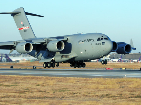 The first C-17 Globemaster aircraft arrives at the 164th Airlift Wing located at Memphis, TN.