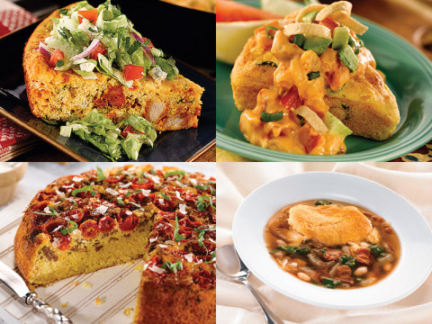 Buffalo Chicken Cornbread with Blue Cheese Salad, Black Olive Cornbread Wedges with Chorizo Tomato Gravy, Sweet Yellow Cornbread, Sausage & Tomato Pie with a Garlic Cream Drizzle and Tennessee Onion Soup Gratin.