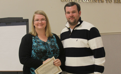 Burt Fifth Grade Teacher Kenzi Neuman with School Board member Josh Baggett.