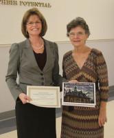Northeast Elementary attendance clerk Lisa Kemmer with School Board member Eula Gardner Dowdy.