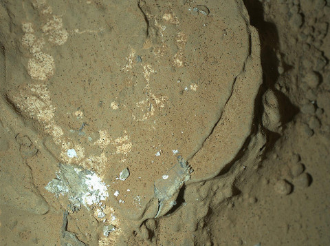 This image of a Martian rock illuminated by white-light LEDs (light emitting diodes) is part of the first set of nighttime images taken by the Mars Hand Lens Imager (MAHLI) camera at the end of the robotic arm of NASA's Mars rover Curiosity. (Image Credit: NASA/JPL-Caltech/MSSS)