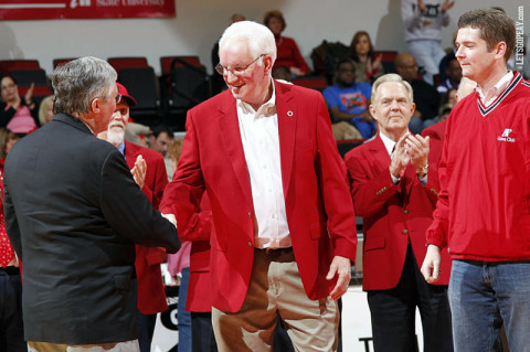 Dr. Bruce Myers (R) shaking hands with Austin Peay President Tim Hall (L). (Courtesy: Austin Peay Sports Information)