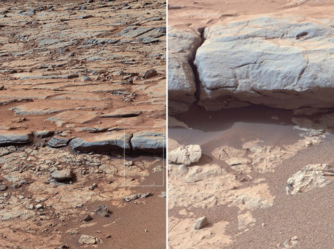 """The right Mast Camera (Mastcam) of NASA's Curiosity Mars rover provided this view of the lower stratigraphy at """"Yellowknife Bay"""" inside Gale Crater on Mars. (Image credit: NASA/JPL-Caltech/MSSS)"""