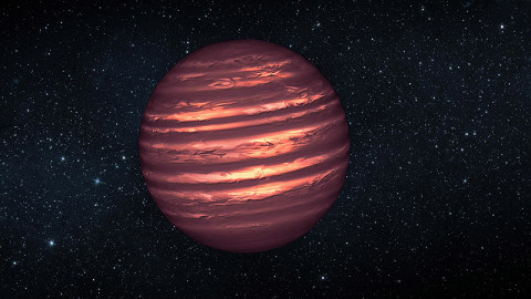 "This artist's illustration shows the atmosphere of a brown dwarf called 2MASSJ22282889-431026, which was observed simultaneously by NASA's Spitzer and Hubble space telescopes. The results were unexpected, revealing offset layers of material as indicated in the diagram. For example, the large, bright patch in the outer layer has shifted to the right in the inner layer. The observations indicate this brown dwarf -- a ball of gas that ""failed"" to become a star -- is marked by wind-driven, planet-size clouds. (Image credit: NASA/JPL-Caltech)"