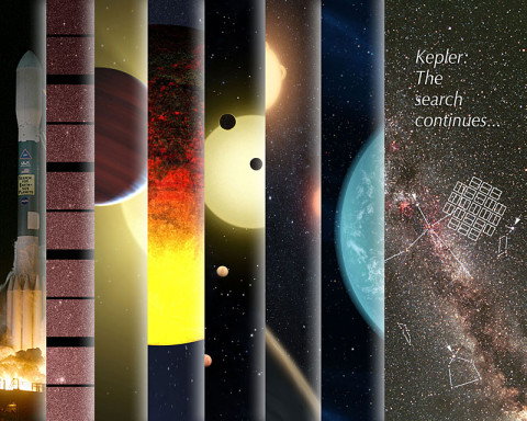 This collage includes a compilation of artist's concepts depicting milestones from the Kepler mission. (Image credit: NASA Ames Research Center/W. Stenzel)