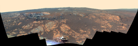 As NASA's Mars Exploration Rover Opportunity neared the ninth anniversary of its landing on Mars, the rover was working in the 'Matijevic Hill' area seen in this view from Opportunity's panoramic camera (Pancam). (Image Credit: NASA/JPL-Caltech/Cornell/Arizona State Univ.)