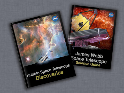 "Covers of the Hubble iBook ""Discoveries"" and the James Webb Space Telescope iBook ""Science Guide."" (Credit: STScI)"