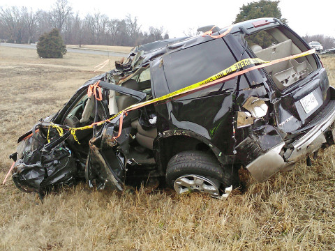 2004 Ford Explorer Crashed on Interstate 24. (Photo by CPD Officer Coz Minetos)