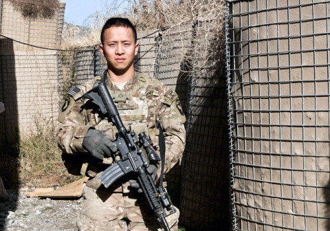 "Pfc. Spencer Vue Vue, an infantryman with 2nd Platoon, Company B, 3rd Battalion, 187th Infantry Regiment, 3rd Brigade Combat Team ""Rakkasans,"" 101st Airborne Division (Air Assault)."