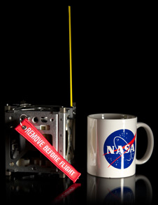 Size of a NASA coffee cup! A trio of CubeSats makes up the innovative PhoneSat Project to be launched next year. (Credit: NASA Ames Research Center)