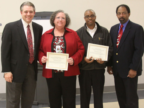 Project Search team members (center) Souette Quinn and Maurice Howard with PDI director Jay Albertia (far left) and School Board member Jimmie Garland.