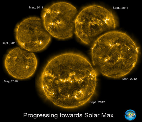 These six extreme UV images of the sun, taken by NASA's Solar Dynamics Observatory, track the rising level of solar activity as the sun ascends toward the peak of the latest 11-year sunspot cycle.