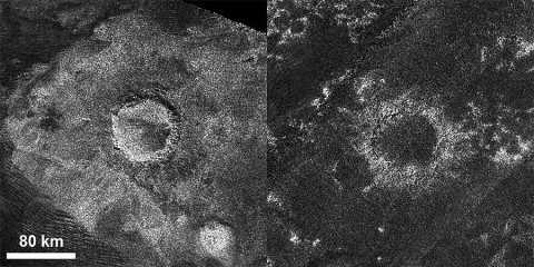 "This set of images from the radar instrument on NASA's Cassini spacecraft shows a relatively ""fresh"" crater called Sinlap (left) and an extremely degraded crater called Soi (right). Sinlap has a depth-to-diameter ratio close to what we see on Jupiter's moon Ganymede. Soi has a shallow depth compared to similar craters on Ganymede. These craters are both about 50 miles (80 kilometers) in diameter. (Image credit: NASA/JPL-Caltech/ASI/GSFC)"
