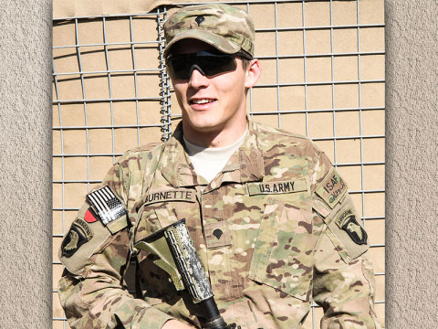 """U.S. Army Spc. Michael T. Burnette, a native of San Antonio, Texas, and infantry team leader assigned to 2nd Platoon, Company A, 3rd Battalion, 187th Infantry Regiment, 3rd Brigade Combat Team """"Rakkasans,"""" 101st Airborne Division (Air Assault), selflessly serves his country while deployed in support of Operation Enduring Freedom. Burnette joined the Army in hopes to better himself and future for his wife and now, two month old daughter. (U.S. Army photo by Spc. Brian Smith-Dutton, TF 3/101 Public Affairs)"""