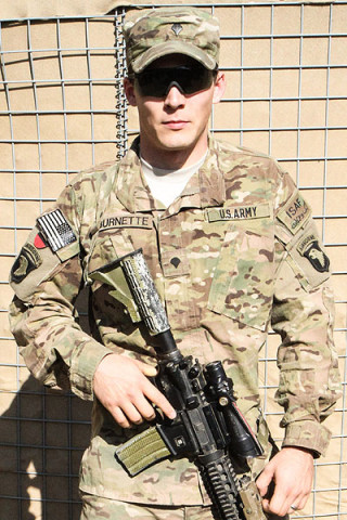 "U.S. Army Spc. Michael T. Burnette, a native of San Antonio, Texas, and infantry team leader assigned to 2nd Platoon, Company A, 3rd Battalion, 187th Infantry Regiment, 3rd Brigade Combat Team ""Rakkasans,"" 101st Airborne Division (Air Assault), selflessly serves his country while deployed in support of Operation Enduring Freedom. Burnette joined the Army in hopes to better himself and future for his wife and now, two month old daughter. (U.S. Army photo by Spc. Brian Smith-Dutton, TF 3/101 Public Affairs)"