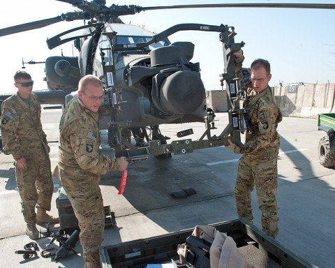 Sgt. Lee Denhe (right) and Pfc. Keith Recore (left), D Company, 1st Battalion, 101st Combat Aviation Brigade avionics and weapons systems technicians, take a sighting kit off of an AH-64D Apache helicopter after conducting maintenance at Forward Operating Base Salerno, Afghanistan, Jan. 23, 2013. (U.S. Army photo by Sgt. Duncan Brennan, 101st CAB public affairs)