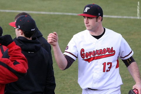 Starting pitcher Luke Ridenhour struck out seven batters over seven innings to win his Austin Peay debut, Friday, against Iowa. (Courtesy: Austin Peay Sports Information)