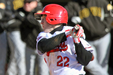 Senior left fielder Cody Hudson had three hits, including a double, in Austin Peay's 13-1 loss to Iowa, Saturday. (Courtesy: Austin Peay Sports Information)