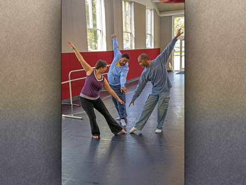APSU assistant professor of dance Margaret Rennerfeldt, associate professor of dance Marcus Hayes and chair of the APSU Area of Theatre and Dance Brian Vernon inside one of the APSU dance studios.
