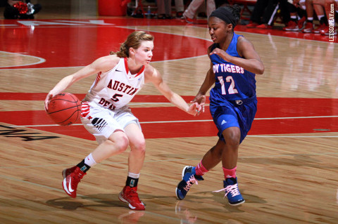 Austin Peay Women's Basketball's Junior Nicole Olszewski grabbed a career-high 10 rebounds in the Lady Govs loss to Tennessee State, Saturday. (Courtesy: Brittney Sparn/APSU Sports Information)