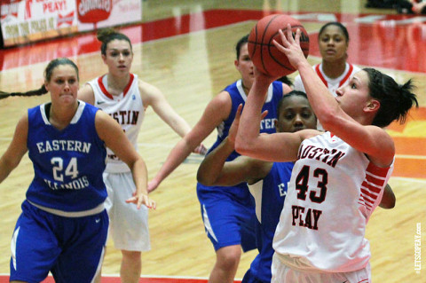 APSU Lady Govs' Meghan Bussabarger gets season high 26 points Saturday night. Austin Peay Women's Basketball. (Courtesy: Brittney Sparn/APSU Sports Information)