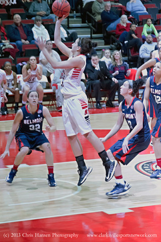 APSU senior Meghan Bussabarger scored her 20th point of the game in overtime and with it became the 16th player to reach the 1,000 point mark. APSU Women's Basketball.