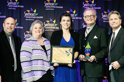 L-R: Theresa Harrington, Jessica Goldberg and Doug Barber were in attendance to accept the awards from SFEA representatives.